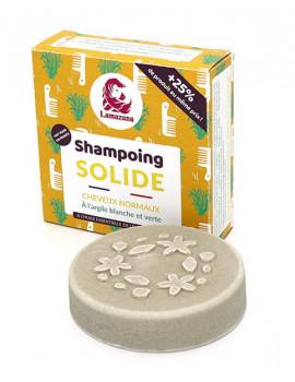 Shampoing solide Cheveux normaux à l'argile blanche et verte 70ml Lamazuna