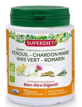 Quatuor Digestion Fenouil Chardon marie anis vert romarin Bio 150 gélules Super Diet foie ballonnements abcbeauté