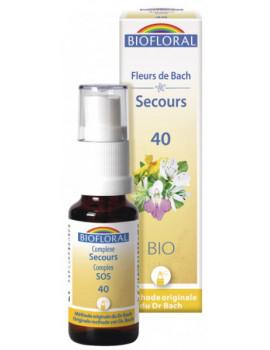 Remède de Secours BIO spray de 20 ml No 040 Biofloral  Rescue,  Fleurs de Bach,  abcBeauté