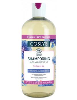 Shampooing anti jaunissement cheveux gris blancs et blonds Centaurée 500ml Coslys