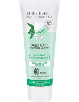 Daily Care dentifrice menthe extra frais au fluor 75ml Logona sauge silice hygiène bucco dentaire abcbeauté