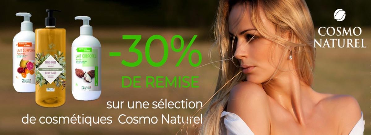 -30% sur une selection de produits cosmo naturel