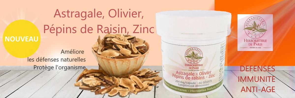 Astragale Olivier Pépins de raisins Zinc 60 gélules Herboristerie de paris