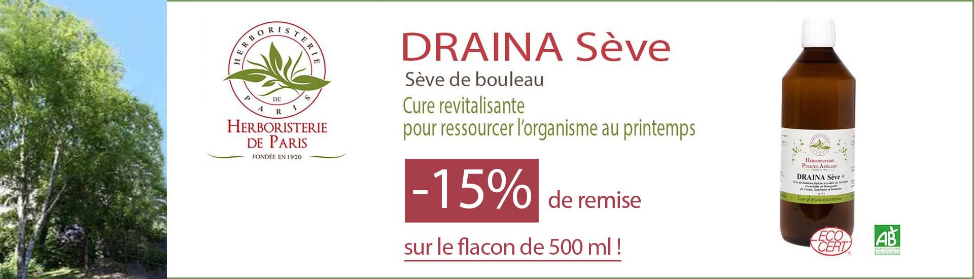 -15% de remise sur le flacon Draina Sève de Bouleau de 500 ml